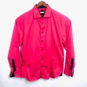 Bespokefit Mens Pink Button down Shirt Long Sleeve